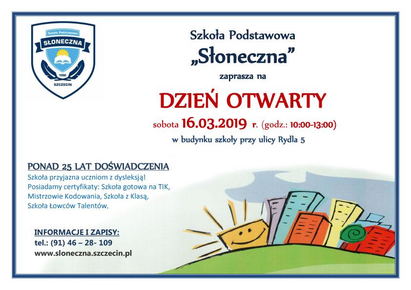 Zapraszamy Na Dzień Otwarty Szkoły Szkoła Podstawowa Słoneczna