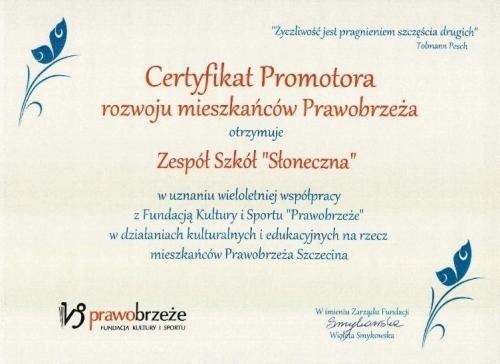 Certyfikat Promotora rozwoju mieszkańców Prawobrzeża.