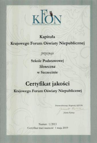 Certyfikat Jakości Krajowego Forum Oświaty Niepublicznej