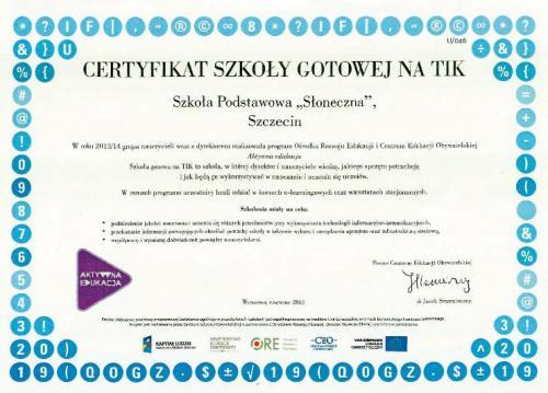 Certyfikat szkoły gotowej na TIK